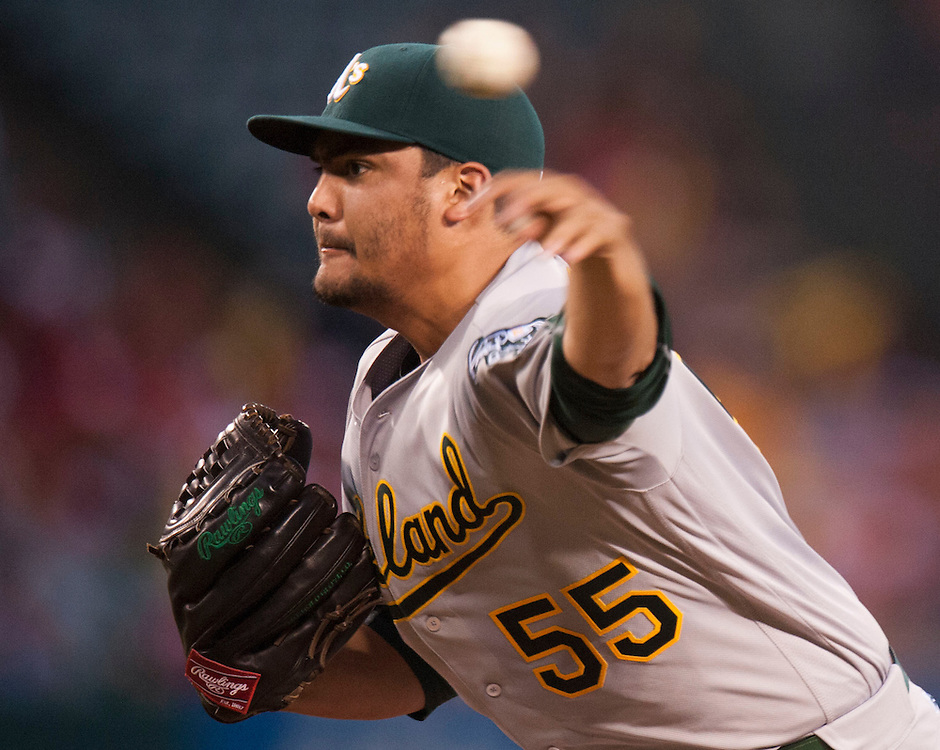 Oakland starter Sean Manaea pitches against the Angels at Angel Stadium on Tuesday.<br /> <br /> ///ADDITIONAL INFO:   <br /> <br /> angels.0803.kjs  ---  Photo by KEVIN SULLIVAN / Orange County Register  -- 8/2/16<br /> <br /> The Los Angeles Angels take on the Oakland Athletics at Angel Stadium.