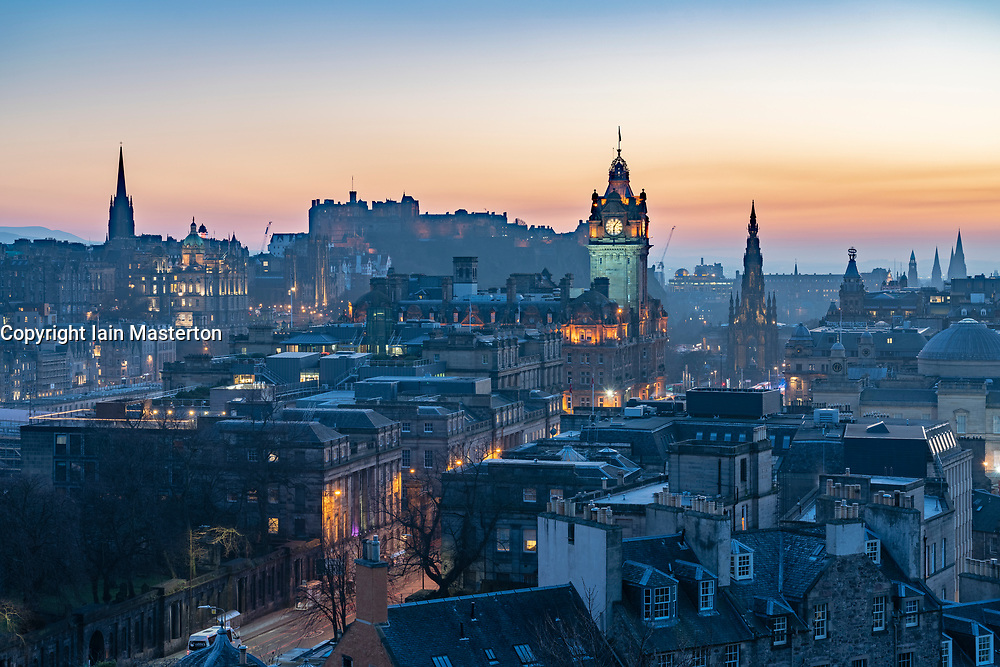 Edinburgh, Scotland, UK. 26 February, 2019. View at sunset over famous Edinburgh skyline from Calton Hill in Edinburgh , Scotland, UK