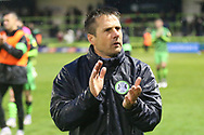 Interim manager Jimmy Ball applauds the fans during the EFL Sky Bet League 2 match between Forest Green Rovers and Newport County at the New Lawn, Forest Green, United Kingdom on 23 May 2021.