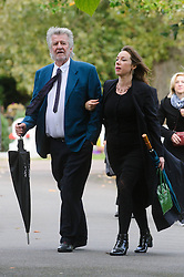 © Licensed to London News Pictures. 07/10/2014London, UK. Ed Stewart arriving for the funeral of singer Lynsey de Paul in Hendon, North London Photo credit : Simon Jacobs/LNP