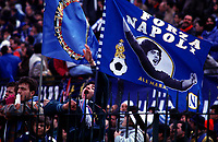 "Håndball<br /> Bundesliga Tyskland<br /> Foto: imago/Digitalsport<br /> NORWAY ONLY<br /> <br /> 00.00.1991  <br /> <br /> Napoli Fans mit Maradona-Fahnen: ""Forza Napoli""; Diego Armando Maradona, (Napoli)"