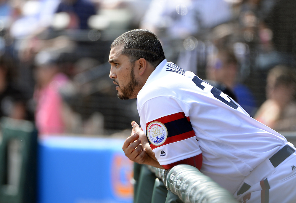 CHICAGO - APRIL 24:  Dioner Navarro #27 of the Chicago White Sox looks on against the Texas Rangers on April 24, 2016 at U.S. Cellular Field in Chicago, Illinois.  The White Sox defeated the Rangers 4-1.  (Photo by Ron Vesely)   Subject: Dioner Navarro