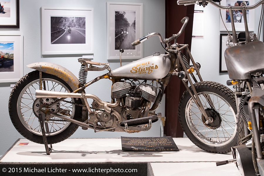 """Matt Olsen's 1938 Indian Sport Scout in Michael Lichter's Motorcycles as Art annual exhibition titled """"The Naked Truth"""" at the Buffalo Chip Gallery during the 75th Annual Sturgis Black Hills Motorcycle Rally.  SD, USA.  August 4, 2015.  Photography ©2015 Michael Lichter."""