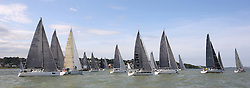 Brewin Dolphin Scottish Series 2014, an International IRC competition racing on the Solent off Cowes and hosted by the RORC.<br /> <br /> The start of the Offshore race into the Channel<br /> <br /> Credit: Marc Turner