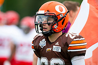 KELOWNA, BC - AUGUST 17:  Tyler GOING #20 of Okanagan Sun stands on the sidelines against the Westshore Rebels  at the Apple Bowl on August 17, 2019 in Kelowna, Canada. (Photo by Marissa Baecker/Shoot the Breeze)