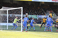 Shawn McCoulsky of Newport county (2nd right) jumps and heads to score his teams 2nd goal to make it 2-1.. Emirates FA Cup , 3rd round match, Newport county v Leeds Utd at Rodney Parade in Newport, South Wales on Sunday 7th January 2018.<br /> pic by Andrew Orchard,  Andrew Orchard sports photography.