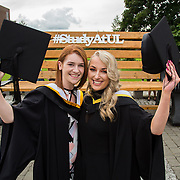 """23.08.2016        <br /> Over 300 students graduated from the Faculty of Arts, Humanities and Social Science at the University of Limerick today. <br /> <br /> Attending the conferring ceremony were Bachelor of Arts in Voice and Dance graduates, Claire O'Sullivan, Scarify Co. Clare and Eilis Nic Dhonnacha, Louisburgh Co. Mayo. Picture: Alan Place.<br /> <br /> <br /> <br /> <br /> UL Graduates Employability remains consistently high as they are 14% more likely to be employed after Graduation than any other Irish University Graduate<br /> Each year, the Careers Service collects information about the 'First Destinations' of UL graduates. During the April/May period following graduation, we survey those who have completed full-time undergraduate and postgraduate courses for details on their current status. This current survey was conducted nine months after graduation and focuses on the employment and further study patterns of the graduates of 2015. A total of 2,933 graduates were surveyed and a response rate of 87% was achieved. <br /> As the University of Limerick commences four days of conferring ceremonies which will see 2568 students graduate, including 50 PhD graduates, UL President, Professor Don Barry highlighted the continued demand for UL graduates by employers; """"Traditionally UL's Graduate Employment figures trend well above the national average. Despite the challenging environment, UL's graduate employment rate for 2015 primary degree-holders is now 14% higher than the HEA's most recently-available national average figure which is 58% for 2014"""". The survey of UL's 2015 graduates showed that 92% are either employed or pursuing further study."""" Picture: Alan Place"""