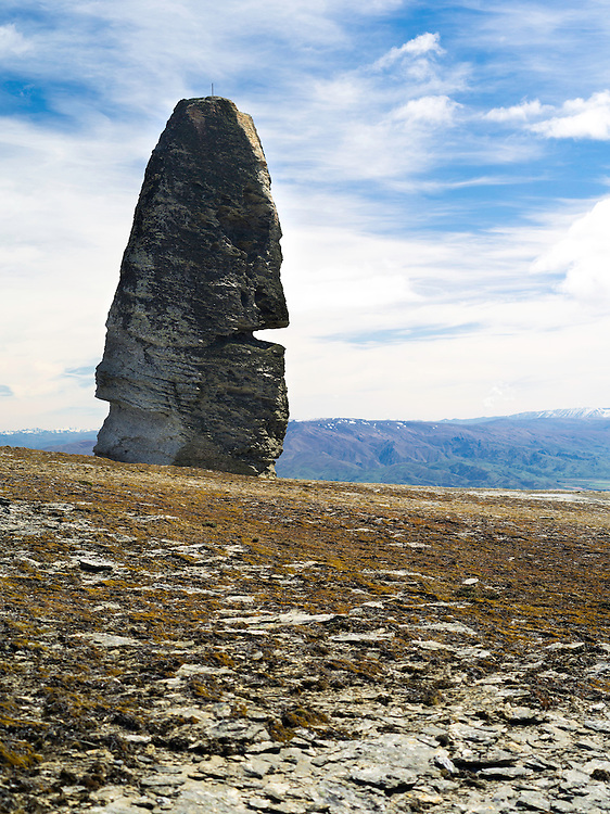 View of the Obelisk and other tors (schist pillars) on the Old Man Mountain Range, Otago, New Zealand