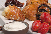 Breakfast with Croissant, jam and butter