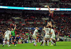 Saracens replacement George Kruis wins lineout ball - Photo mandatory by-line: Patrick Khachfe/JMP - Tel: 07966 386802 - 18/10/2013 - SPORT - RUGBY UNION - Wembley Stadium, London - Saracens v Toulouse - Heineken Cup Round 2.