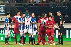 referee Ed Janssen gives a red card to Yassin Ayoub of FC Utrecht during the Dutch Eredivisie play-offs match between sc Heerenveen and FC Utrecht at Abe Lenstra Stadium on May 09, 2018 in Heerenveen, The Netherlands