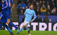 Bernardo Silva of Manchester City celebrates after he scores his teams 1st goal to make it 0-1. Carabao Cup quarter final match, Leicester City v Manchester City at the King Power Stadium in Leicester, Leicestershire on Tuesday 19th December 2017.<br /> pic by Bradley Collyer, Andrew Orchard sports photography.