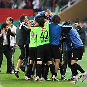 Konyaspor's players celebrate victory during their Play Off Second leg match at AliSamiYen Stadium in Istanbul Turkey on Thursday, 20 May 2010. Photo by TURKPIX