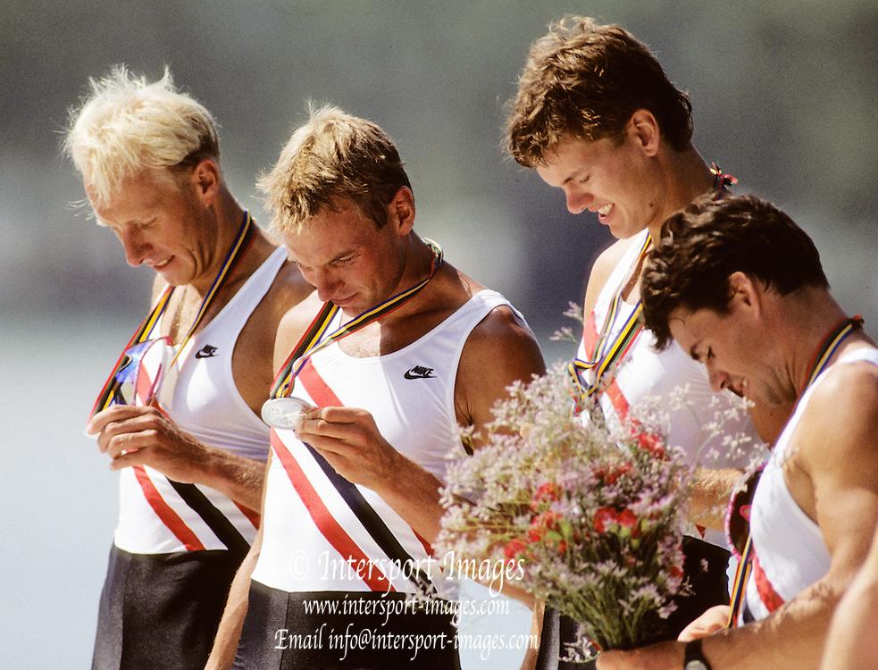 Barcelona Olympics 1992 - Lake Banyoles, SPAIN, NOR M4X Silver Medallist, UNDSET Kjetil, SÄTERSDAL Per Albert, BJÖNNESS Lars, THORSEN, Rolf Bernt,  Photo: Peter Spurrier/Intersport Images.  Mob +44 7973 819 551/email images@intersport-images.com
