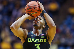Jan 21, 2019; Morgantown, WV, USA; Baylor Bears guard King McClure (3) shoots a foul shot during the first half against the West Virginia Mountaineers at WVU Coliseum. Mandatory Credit: Ben Queen-USA TODAY Sports