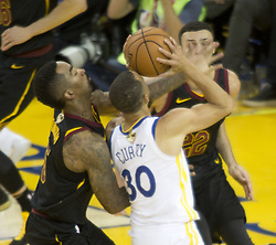 May 31, 2018 - Oakland, California, U.S - Stephen Curry #30 of the Golden State Warriors is blocked  while taking a shot during  their NBA Championship Game 1  with the Cleveland  Cavaliers at Oracle Arena in Oakland,  California on Thursday,  May 31, 2018. ARMANDO  ARORIZO/PI (Credit Image: © Prensa Internacional via ZUMA Wire)