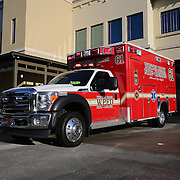 The Winter Park Fire/Rescue Department showcased a new series of ambulances equipped with built-in decontamination units, coming in the wake of an international Ebola virus scare. The units are made up of pressurized pumps, which release a decontamination mist inside the patient area of the ambulance. It takes about 15 minutes for the mist to cover all the surface area inside, a process that can be done even while the ambulance is moving. This is one of three units on hand at the Winter Park, Florida station on Friday, Oct. 10, 2014 in Winter Park, Florida. (AP Photo/Alex Menendez)
