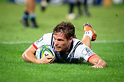 March 23, 2019 - Sydney, NSW, U.S. - SYDNEY, NSW - MARCH 23: Crusaders player George Bridge (11) scores a try at round 6 of Super Rugby between NSW Waratahs and Crusaders on March 23, 2019 at The Sydney Cricket Ground, NSW. (Photo by Speed Media/Icon Sportswire) (Credit Image: © Speed Media/Icon SMI via ZUMA Press)