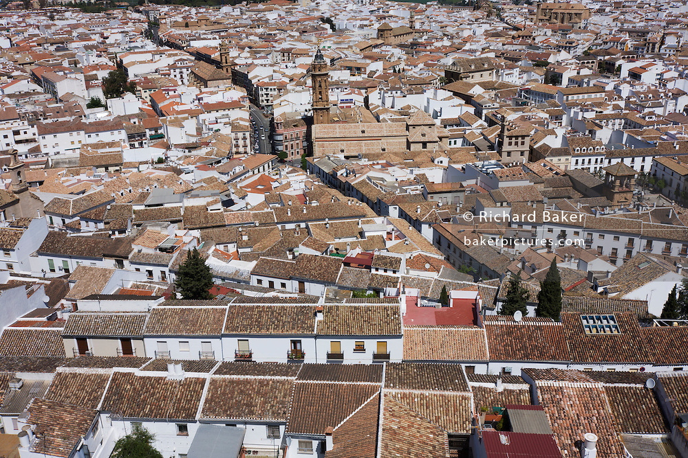 Rooftops of the church of San Sebastian, in Antequera, Andalucia.