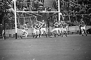 12/05/1968<br /> 05/12/1968<br /> 12 May 1968<br /> National Hurling League Home Final: Tipperary v Kilkenny at Croke Park, Dublin.<br /> The Kilkenny men guard their goal.