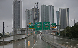 A view of an empty I-195 as the outer bands of Hurricane Irma reach Miami early on Saturday, September 9, 2017. Photo by David Santiago/El Nuevo Herald/TNS/ABACAPRESS.COM