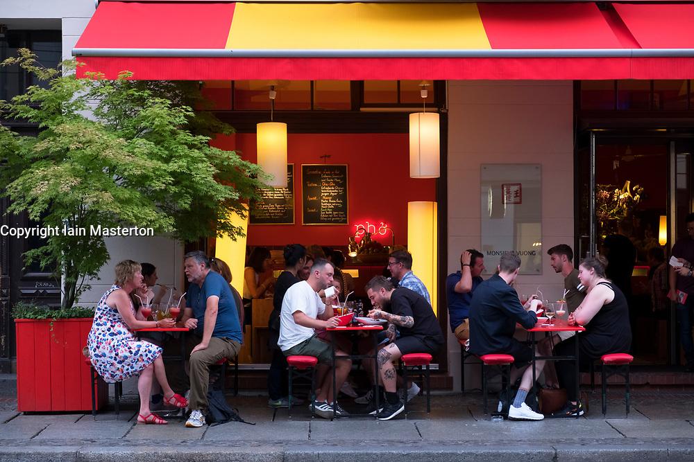 Exterior of Monsieur Vuong Vietnamese restaurant restaurant in fashionable Mitte district of Berlin, Germany