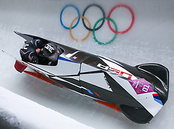 16-02-2014 BOBSLEE: OLYMPIC GAMES: SOTSJI<br /> Steven Holcomb and Steven Langton Bob United States 1 of the USA during Heat 2 of Two-man Bobsleigh of the Olympic Winter Games Sochi 2014 at the Sliding Center Sanki<br /> ©2014-FotoHoogendoorn.nl