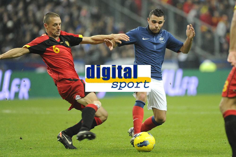 FOOTBALL - INTERNATIONAL FRIENDLY GAMES 2011/2012 - FRANCE v BELGIUM - 15/11/2011 - PHOTO JEAN MARIE HERVIO / DPPI - MARVIN MARTIN (FRA) / TIMMY SIMONS (BEL)