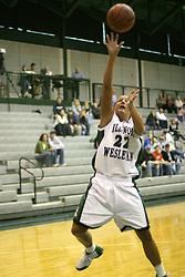 18 December 2004..Heidi Harnisch gets an inside shot..Illinois Wesleyan University Titans V Webster University Gorlocks.  NCAA Division III Women's Basketball.  Shirk Center, Illinois Wesleyan University, Bloomington IL