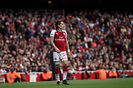 Hector Bellerin Of Arsenal looks on.<br /> Premier league match, Arsenal v Brighton & Hove Albion at the Emirates Stadium in London on Sunday 1st October 2017. pic by Kieran Clarke/Andrew Orchard sports photography