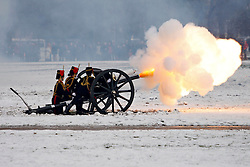 © Licensed to London News Pictures. 06/02/2012. London, UK. A 41 gun salute by the King's Troop, Royal Horse Artillery in Hyde Park to mark the 60th anniversary of Queen Elizabeth II's accession to the throne. (04-05/02).. Photo credit : Ryan Shepherd/LNP