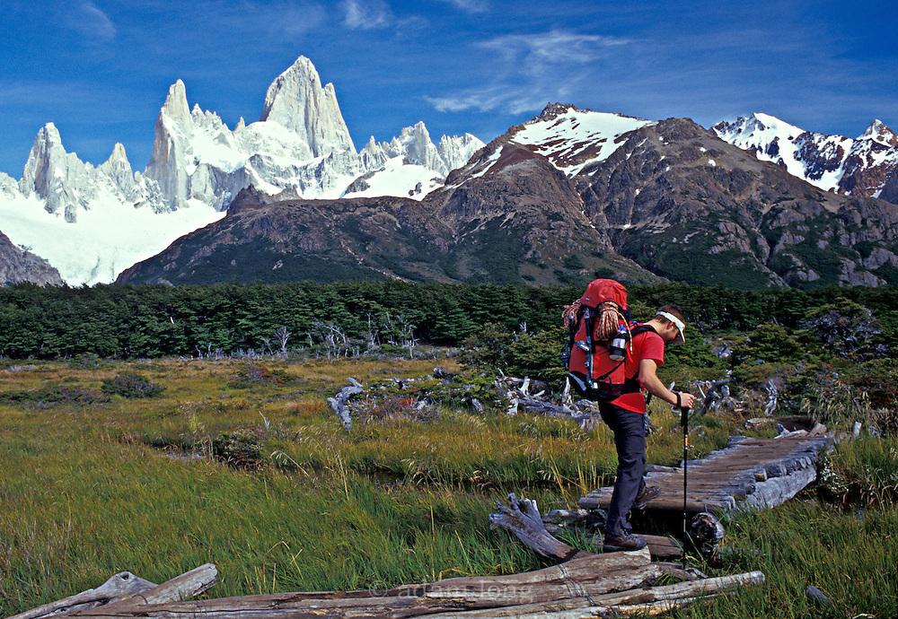 Ben Bransby walking  in to basecamp, Fitz Roy range, Patagonia