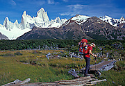 Ben Bransby walking  in to basecamp, Fitz Roy range, Patagonia
