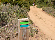One woman walking in woodland on coastal long distance footpath trail, The Fisherman's Walk or Ruta Vicentina, near Zambujeira do Mar, Alentejo Littoral, Portugal, Southern Europe. In the foreground is the painted way mark sign for the route.