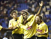 Fotball<br /> Caling Cup England 2004/2005<br /> Andre runde<br /> 21.09.2004<br /> Foto: SBI/Digitalsport<br /> NORWAY ONLY<br /> <br /> Reading v Watford<br /> <br /> Hameur Bouazza celebrates his goal for Watford.