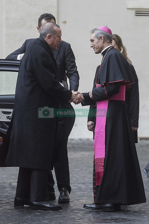 February 5, 2018 - Vatican City, Vatican - Turkey's President Recep Tayyip Erdogan is welcomed by Archbishop Georg Gaenswein, prefect of the Papal Household, upon his arrival at the Apostolic Palace to attend a private audience with Pope Francis in Vatican City, Vatican on February 05, 2018. (Credit Image: © Giuseppe Ciccia/Pacific Press via ZUMA Wire)