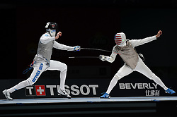 WUXI, July 27, 2018  Andrea Cassara (L) of Italy fights with Alexander Massialas of the US during the men's foil team final between Italy and the United States at the Fencing World Championships in Wuxi, east China's Jiangsu Province, July 27, 2018. Italy beat US 45-34 and claimed the title of the event. (Credit Image: © Li Bo/Xinhua via ZUMA Wire)