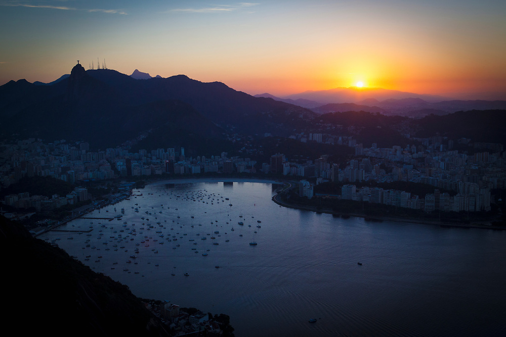 View of Botafogo Bay at Sunset, Rio de Janeiro as seen from Sugarloaf Mountain