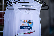 Plovdiv BULGARIA. 2017 FISA. Rowing World U23 Championships. <br /> An Event Shirt [Singlet/ Wife Beater], hanging on display,  <br /> Wednesday. AM, general Views, Course, Boat Area<br /> 09:47:24  Wednesday  19.07.17   <br /> <br /> [Mandatory Credit. Peter SPURRIER/Intersport Images].