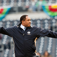 19 March 2009: Baseball Legend Dave Winfield throws out the first pitch prior to the 2009 World Baseball Classic Pool 1 game 6 at Petco Park in San Diego, California, USA. Japan wins 6-2 over Korea.