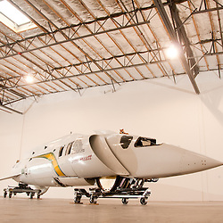 Steve Fossett's Land Speed Record Car inside a warehouse in Sparks, Nev., Thursday, Dec. 30, 2010. The car has a design speed of 800 miles per hour...Photo by David Calvert special to The National