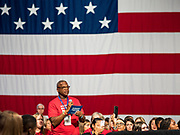 10 AUGUST 2019 - DES MOINES, IOWA: A gun violense survivor asks Rep. Tim Ryan a question at the gun sense forum. Several thousand people from as far away as Milwaukee, WI, and Chicago, came to Des Moines Saturday for the Presidential Gun Sense Forum. Most of the Democratic candidates for president attended the event, which was organized by Moms Demand Action, Every Town for Gun Safety, and Students Demand Action.          PHOTO BY JACK KURTZ