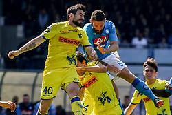 April 8, 2018 - Naples, Italy - Nenad Tomovic (Chievo Verona)..during the Italian Serie A football SSC Napoli v Chievo Verona at S. Paolo Stadium..in Naples on April 08, 2018  (Credit Image: © Paolo Manzo/NurPhoto via ZUMA Press)