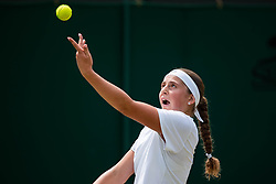 July 9, 2018 - London, England, U.S. - LONDON, ENG - JULY 09: JELENA OSTAPENKO (LAT) during day seven match of the 2018 Wimbledon on July 9, 2018, at All England Lawn Tennis and Croquet Club in London,England. (Photo by Chaz Niell/Icon Sportswire) (Credit Image: © Chaz Niell/Icon SMI via ZUMA Press)