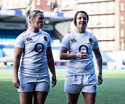 Natasha Hunt of England with team-mate Katy Daley-Mclean<br /> <br /> Photographer Simon King/Replay Images<br /> <br /> Six Nations Round 3 - Wales Women v England Women - Sunday 24th February 2019 - Cardiff Arms Park - Cardiff<br /> <br /> World Copyright © Replay Images . All rights reserved. info@replayimages.co.uk - http://replayimages.co.uk