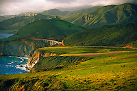 Looking north to the Bixby Bridge, near Big Sur, Monterey County, California USA