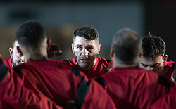 Dragons' Charlie Daviesgives his team mates advise during the pre match team huddle.<br /> <br /> Photographer Simon Latham/Replay Images<br /> <br /> Anglo-Welsh Cup Round Round 4 - Dragons v Worcester Warriors - Friday 2nd February 2018 - Rodney Parade - Newport<br /> <br /> World Copyright © Replay Images . All rights reserved. info@replayimages.co.uk - http://replayimages.co.uk