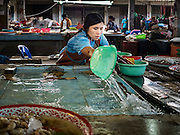 31 DECEMBER 2015 - BANGKOK, THAILAND: A fish monger scrubs down her market stall after closing for the day in Bang Chak Market. The market is supposed to close permanently on Dec 31, 2015. The Bang Chak Market serves the community around Sois 91-97 on Sukhumvit Road in the Bangkok suburbs. About half of the market has been torn down. Bangkok city authorities put up notices in late November that the market would be closed by January 1, 2016 and redevelopment would start shortly after that. Market vendors said condominiums are being built on the land.          PHOTO BY JACK KURTZ