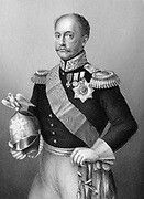 Nicholas I (1796-1855) Tsar of Russia from 1825:  In military uniform, holding helmet topped with imperial double-headed eagle. Engraving c1860.