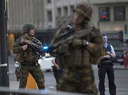 June 20, 2017 - Brussels, Belgium - Belgian Army soldiers guard Brussels Central Station after a reported explosion. Soldiers have 'neutralized' the man who wore an explosives belt after a blast, according to authorities. (Credit Image: © Laurie Dieffembacq/Belga via ZUMA Press)